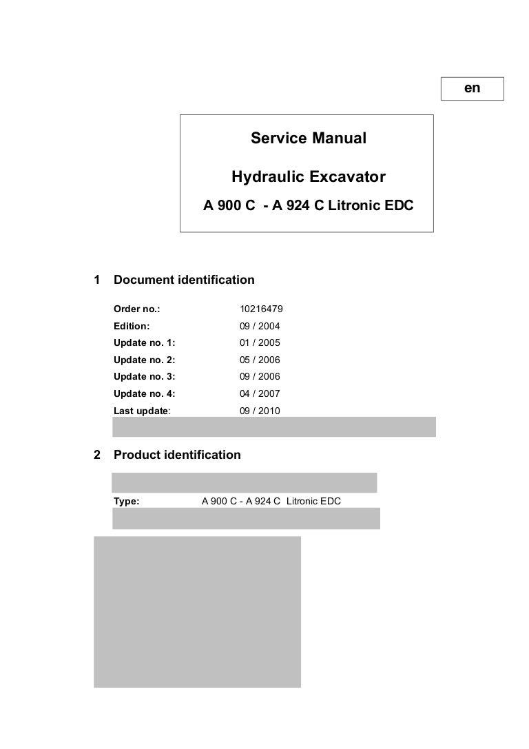 Liebherr A 904 C Litronic EDC Hydraulic Excavator Service Repair Manu…