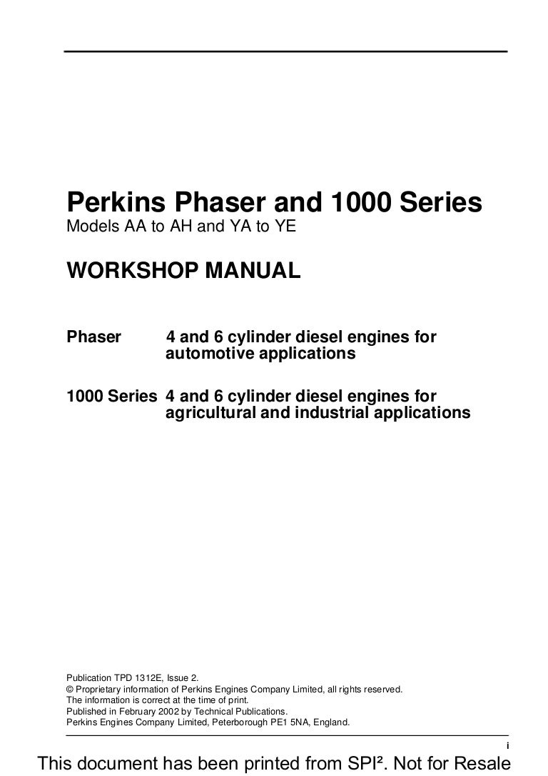 PERKINS PHASER AND 1000 SERIES MODELS YB DIESEL ENGINE