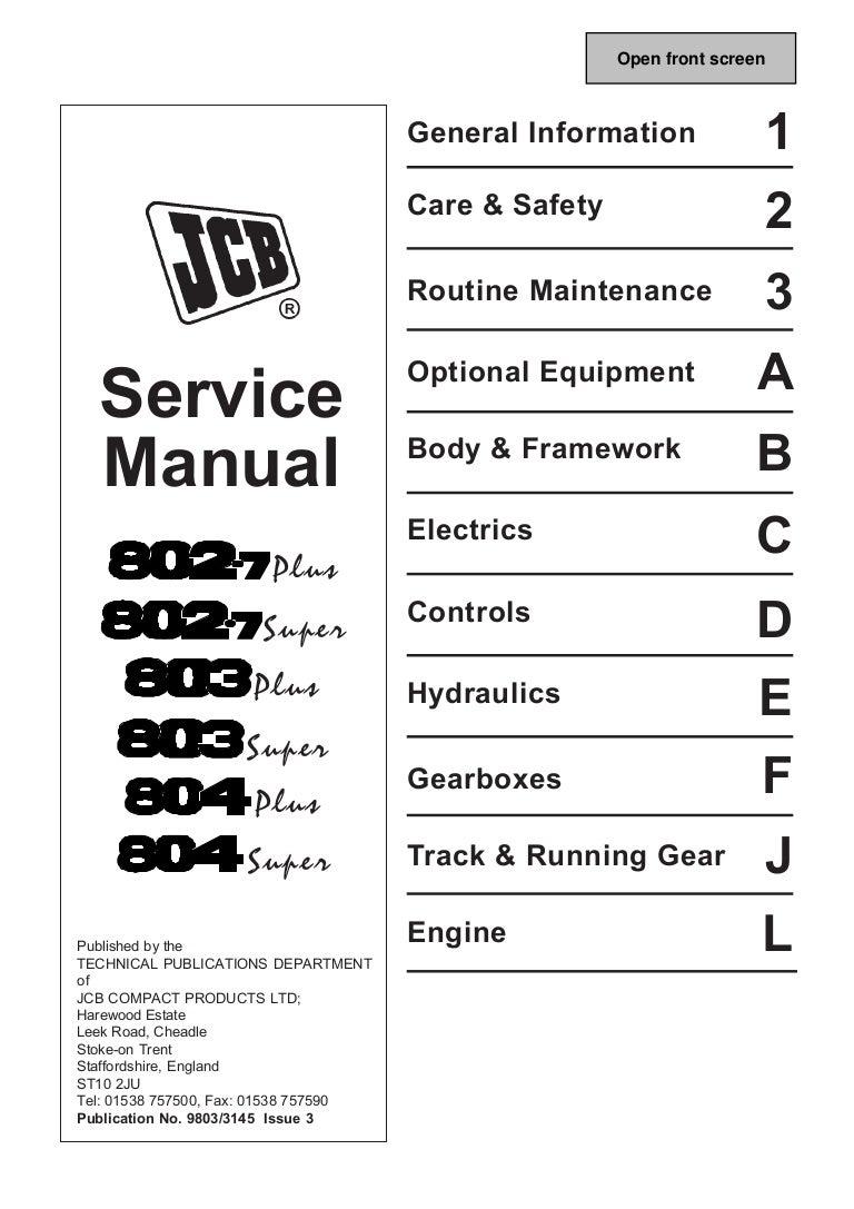 Jcb Backhoe Wiring Diagram 1994 Simple Detailed 1400b Schematic 803plus Mini Excavator Service Repair Manual Sn765607 Onwards