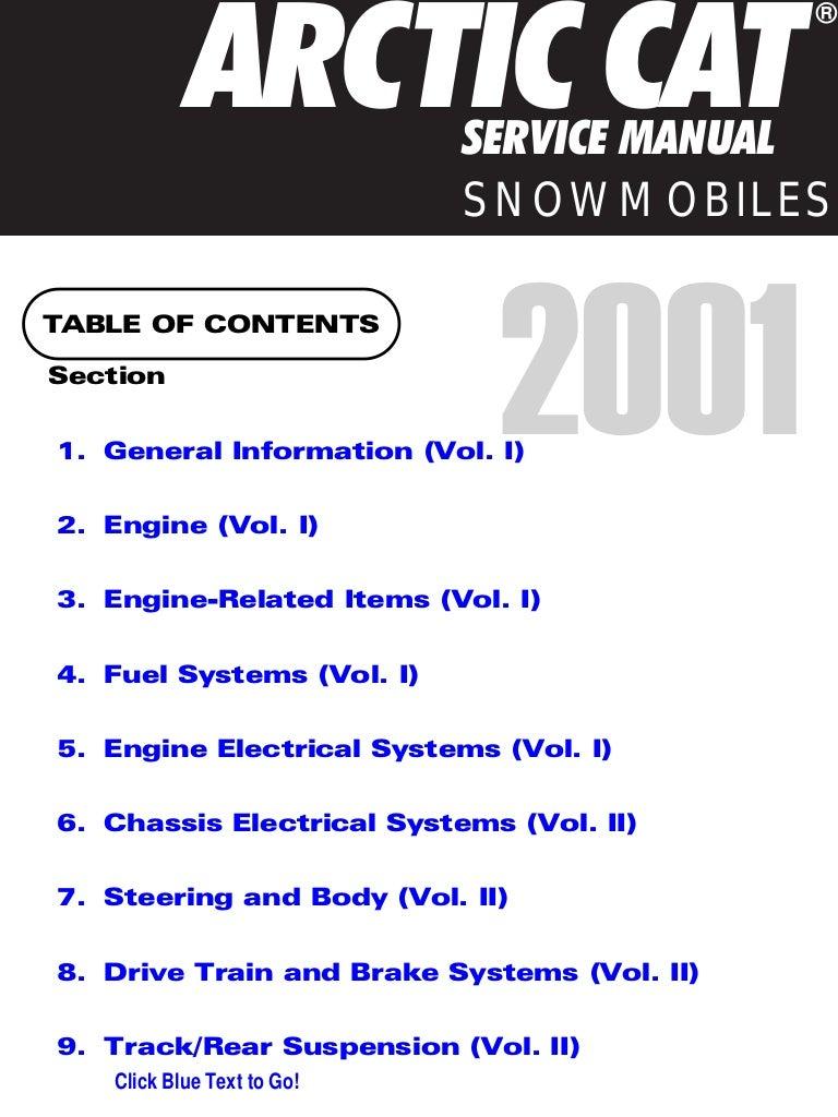 2001 Arctic Cat Zl 600 Efi Snowmobile Service Repair Manual Wiring Diagram
