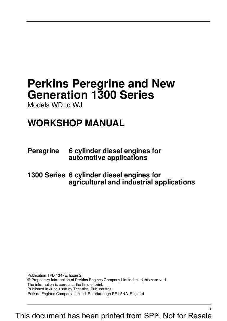 Perkins 1300 Series We Diesel Engine Service Repair Manual 05 6 0 Fuel Filter Housing