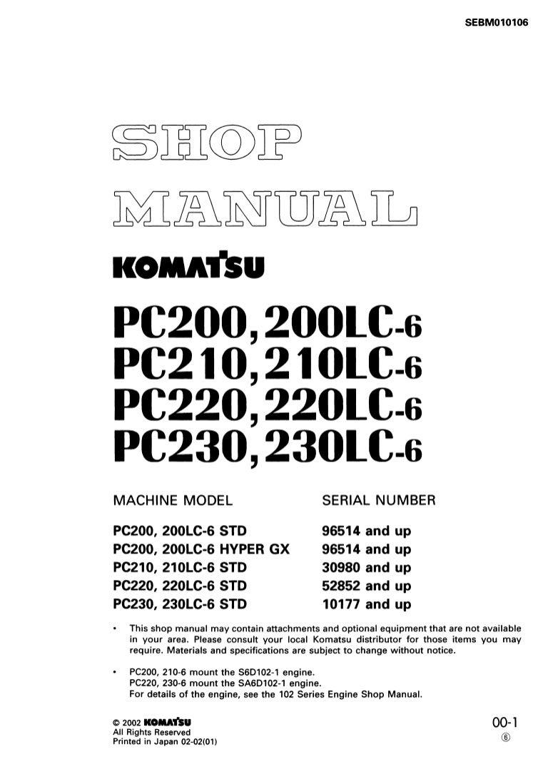 Komatsu PC200, PC200LC-6 HYPER GX Hydraulic Excavator Service Repair …