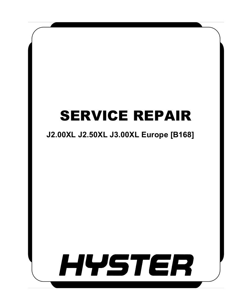 Hyster B168 (J3.00XL Europe) Forklift Service Repair Manual