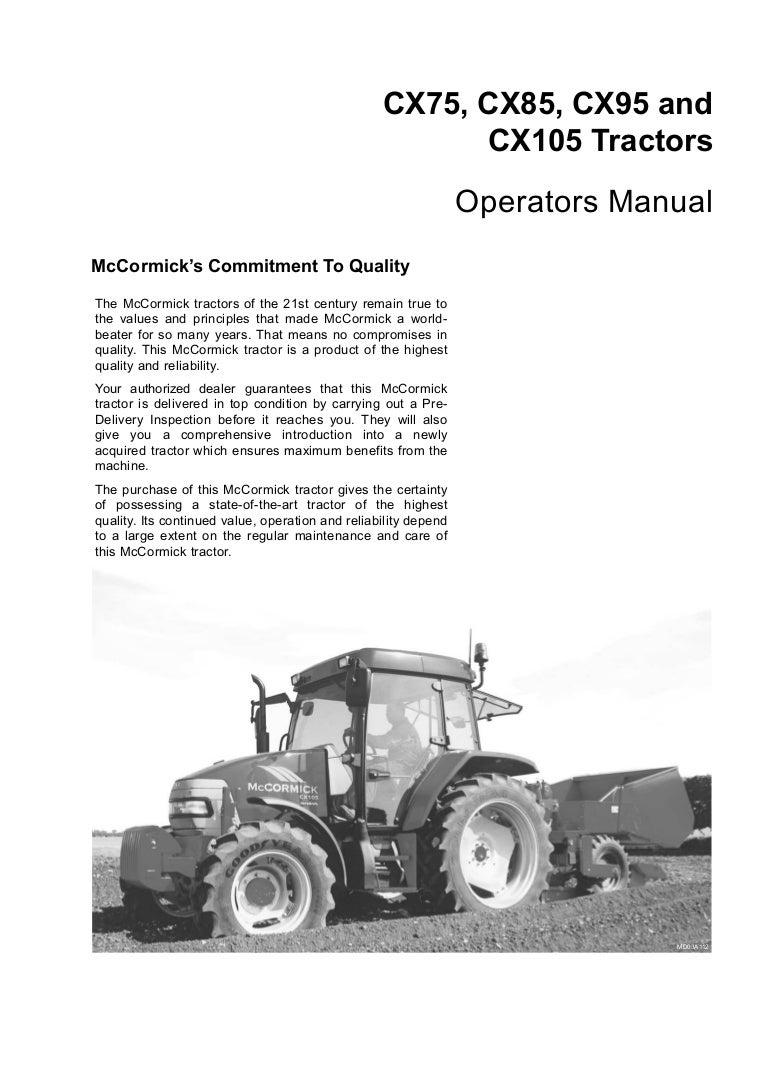 Mccormick Cx95 Tractor Operator Manual