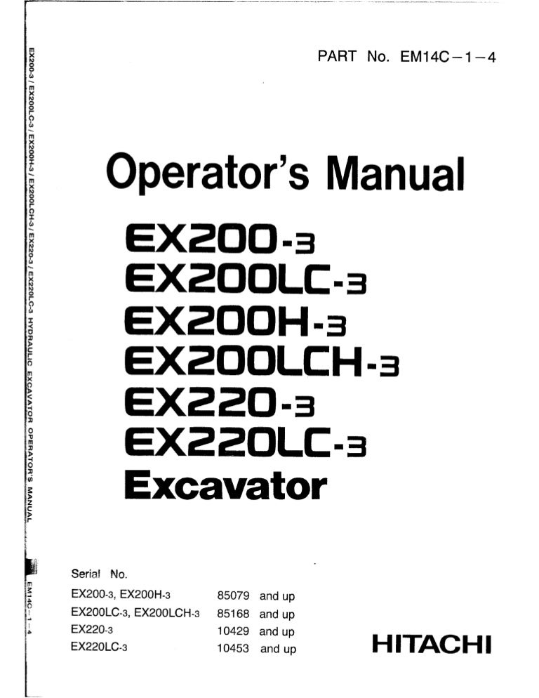 Hitachi EX220LC-3 Excavator operator's manual SN: 10453 and up