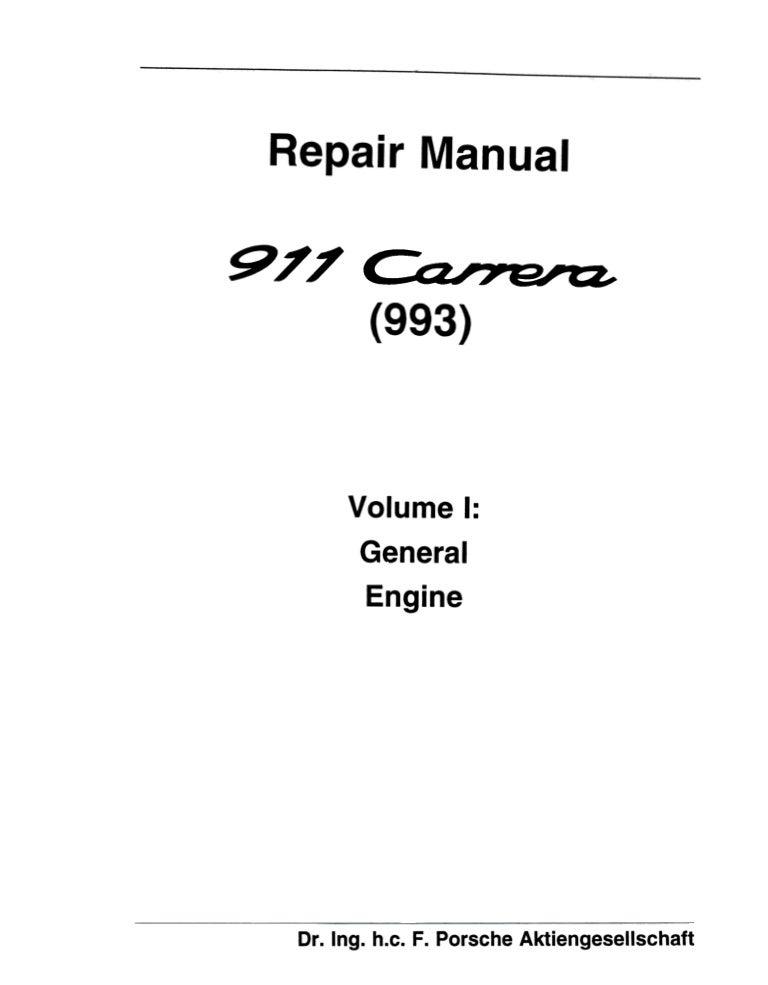 1998 Porsche 911 Carrera (993) Service Repair Manual