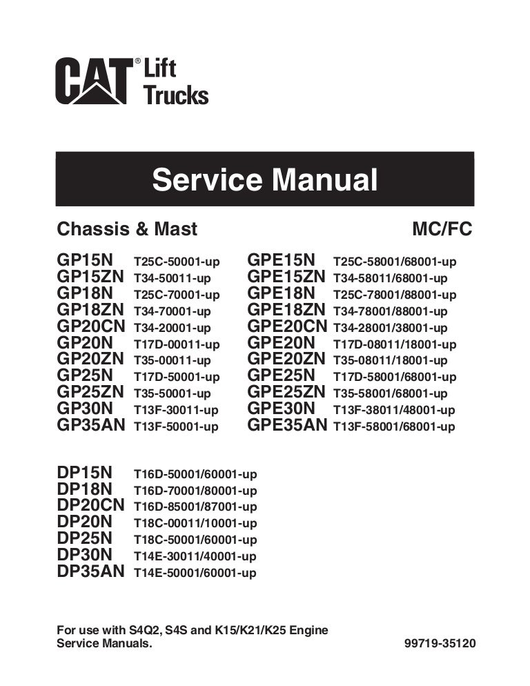 Caterpillar Cat GP35N Forklift Lift Trucks Service Repair