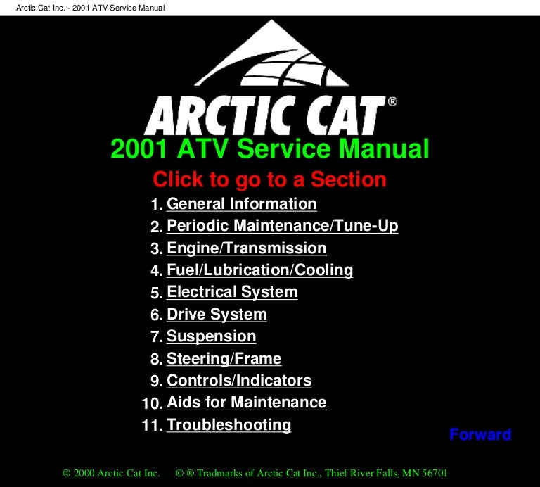2001 Arctic Cat Arctic Cat 300 4x4 Atv Service Repair Manual