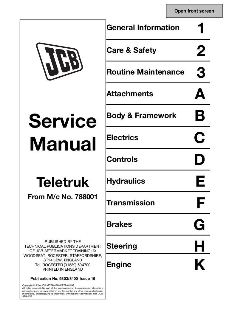 Jcb 30d 44 35d Teletruk Service Repair Manual Sn78001 Onward Alternator Wiring Diagram