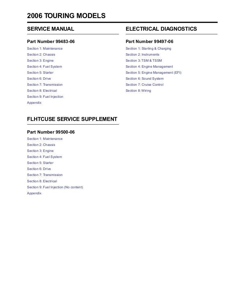 2006 Harley-Davidson FLHRI Road King (EFI) Service Repair Manual