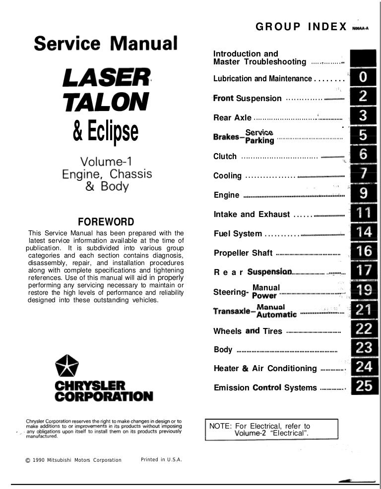 1990 Mitsubishi Eclipse & Laser & Talon Service Repair Manual