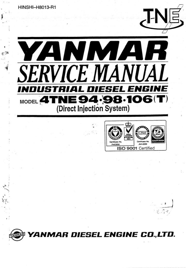 YANMAR 4TNE98 DIESEL ENGINE Service Repair Manual