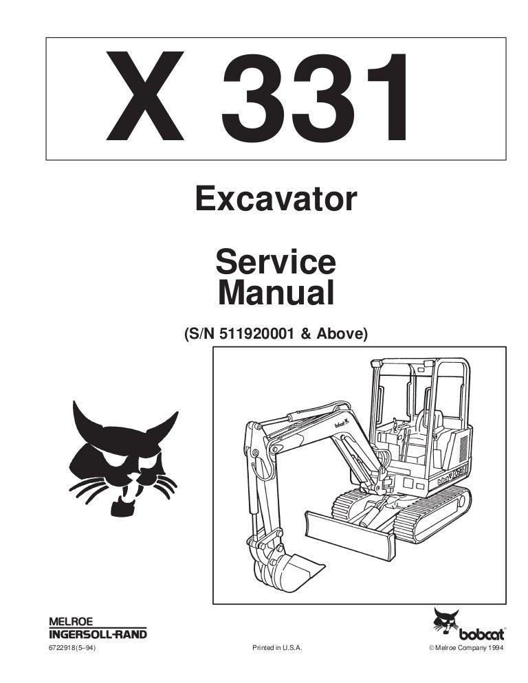 BOBCAT 331 COMPACT EXCAVATOR Service Repair Manual (S/N