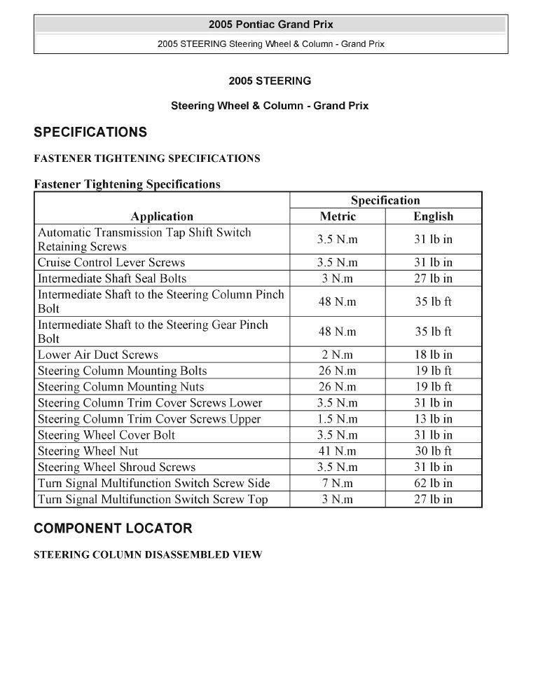 2004 Pontiac Grand Prix Service Repair Manual