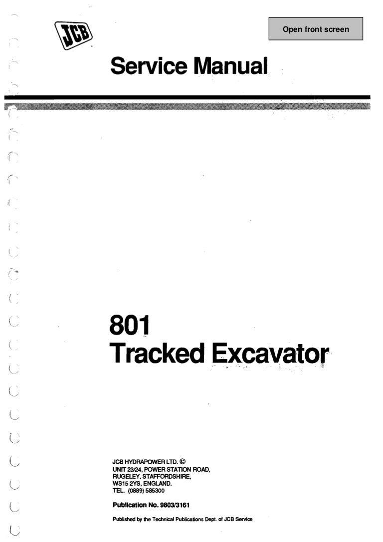 JCB 801 MINI EXCAVATOR Service Repair Manual