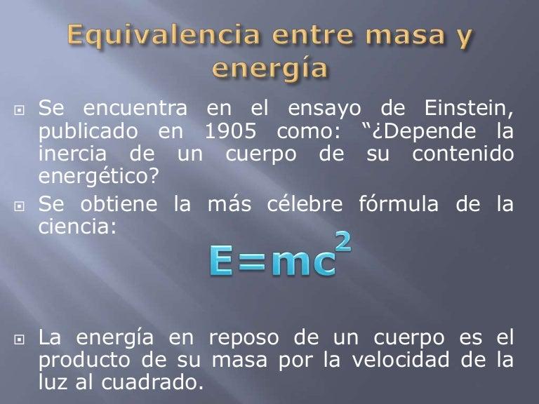 Resultado de imagen de Masa y energía es la misma cosa