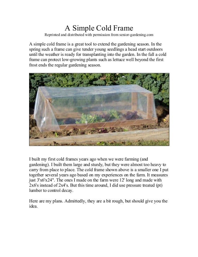 A Simple Cold Frame - for Winter Gardening
