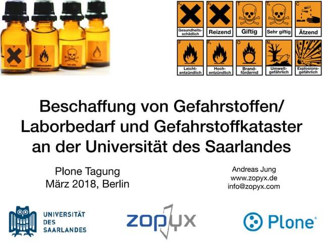 Plone im Einsatz bei der Universität des Saarländes als Shop-System und Gefahrstoffkataster