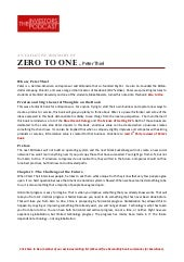 the summary of Zero to One book