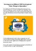 Zeroing on an Offshore PHP Development Firm: Things to Remember