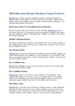 Monster resume database
