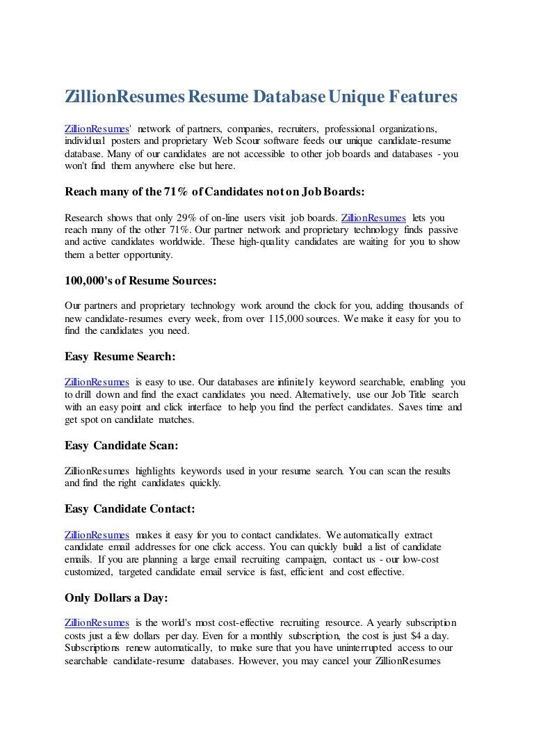 Zillion resumes resume database unique features