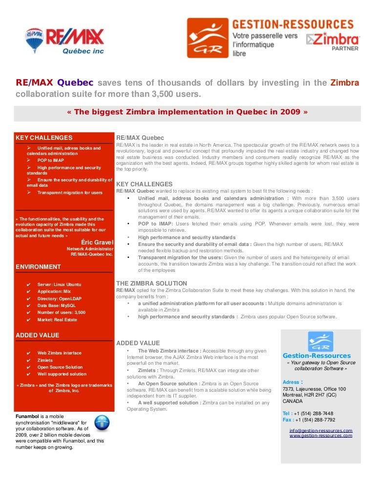 Zimbra success story RE/MAX-Québec