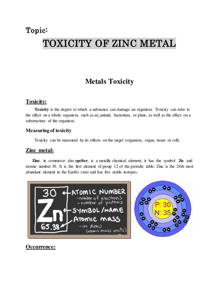 Toxicity Of Zinc Metal