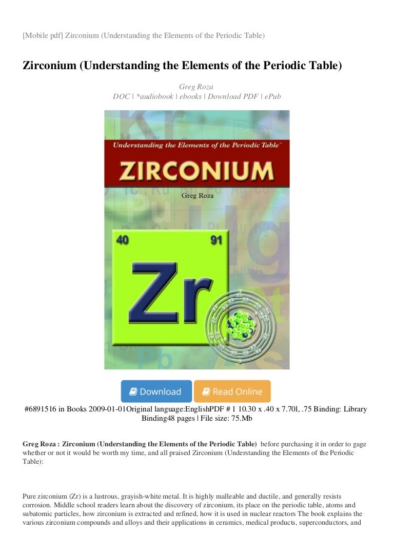 Zirconium Understanding The Elements Of The Periodic Table