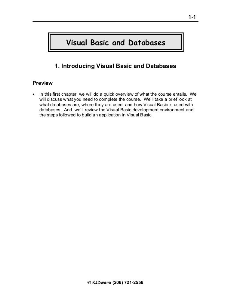 Visual basic databases