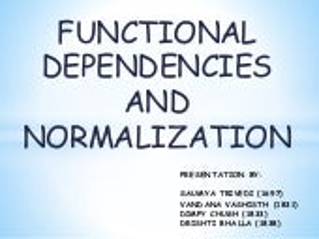 Fd & Normalization - Database Management System