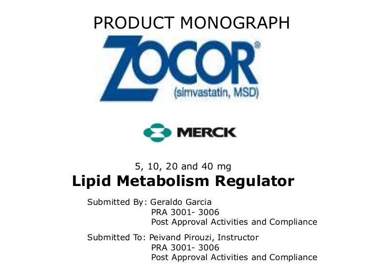 Zocor prescribing information