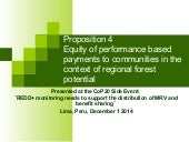 Proposition 4: Equity of performance-based payments to communities in the context of regional forest potential