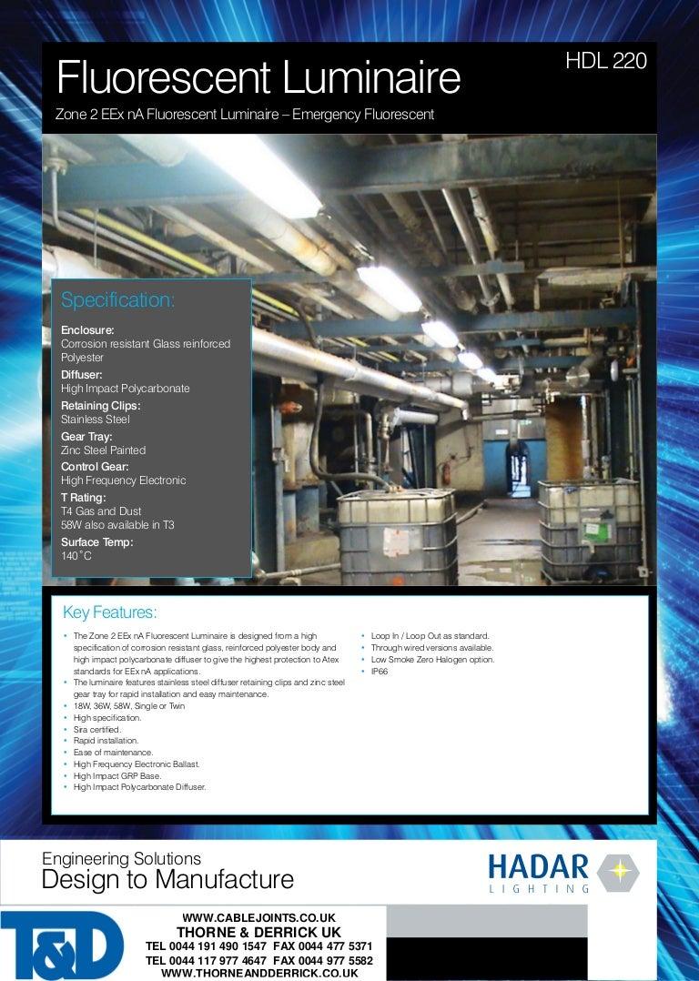 Zone 2 ATEX Lighting Fluorescent Luminaire - Hadar HDL220 (1 x 18W La…
