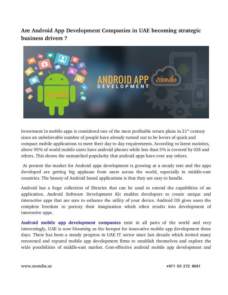 Are Android App Development Companies in UAE becoming