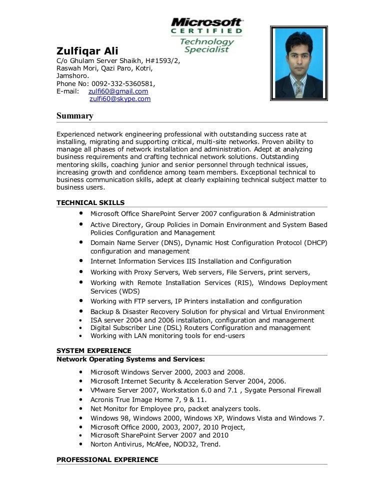 Windows system engineer resume