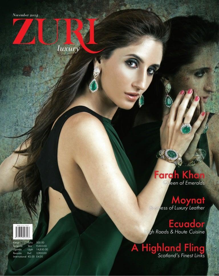 Zuri Luxury Magazine Covers Farah Khan Fine Jewellery Issue 1 Nov 2014