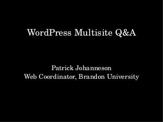 WordPress Multisite Q&A