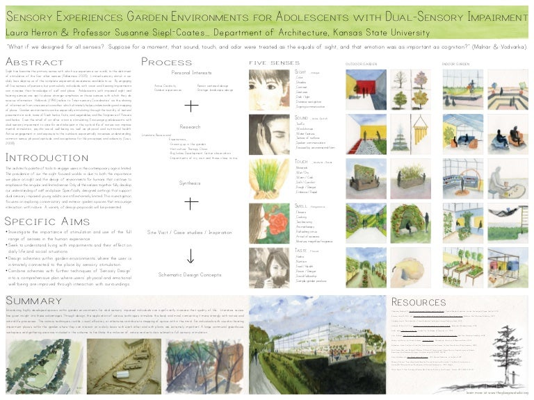 Poster Sensory Garden Design For Adolescents With Dual