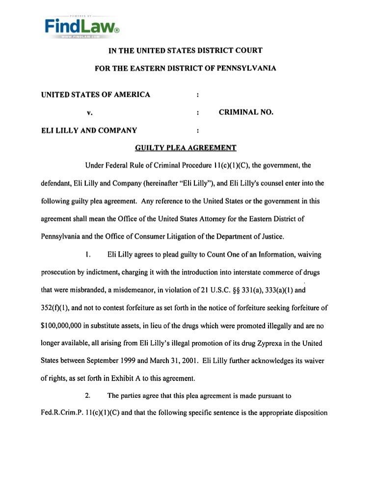 Zyprexa - Eli Lilly'S Guilty Plea Agreement